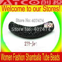 Wholesale 100pcs New Black 10*50mm Clay Core Rhinestone Bar Curved Tube For Shamballa Bracelets DIY, Free Shipping, DG008