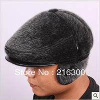 Quality imitation mink male wool ear benn forward cap winter thermal cap Men hat