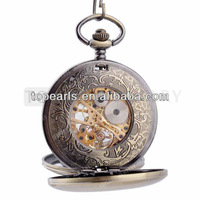 Topearl Jewelry Antique Double Hunter Mechanical Pocket Watch LPW238