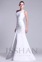 One Shoulder Ruched Mermaid Satin Gorgeous Elegant Luxury Unique Brilliant Bridal Wedding Dress Wedding Gown