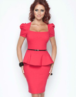 karen millen2013 new temperament elegant flouncing Slim Dress (Free Belt)