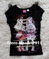 Retail New 2014 Ever After Monster High Summer Girls fashion T-shrits children t shirts brand girls clothing kids t shirts6,7,8