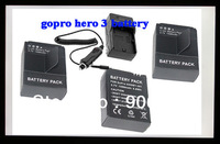 Free shipping 3pcs DSTE Battery AHDBT-301 AHDBT-201 + DC137 Charger for GOPRO Hero3 Camera Helmet Surf Naked Motersports