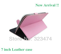 """New Pink 7"""" Leather Universal MID Android Tablet PC Case Cover 7-inch w/ Stand  --free shipping  BS10"""