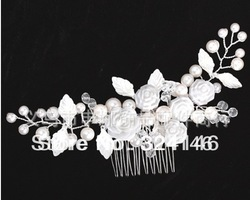 Free shipping 100% guaranteed luxurious white rose flower wedding Hairpins bridal hair jewelry retail / wholesale(China (Mainland))