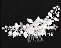 Free shipping 100% guaranteed luxurious white rose flower wedding Hairpins bridal hair  jewelry retail / wholesale
