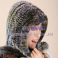 BGZX036 Newest Colorful Handmade Rex Rabbit Fur Snow Cap With Tassels particular Warm Hat