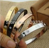 rose/silver/gold/black  titanium steel &crystal leve screw bangles