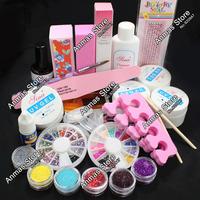 Pro Full Acrylic Glitter Powder Glue French Nail Art UV Gel Tips Kit Set #168