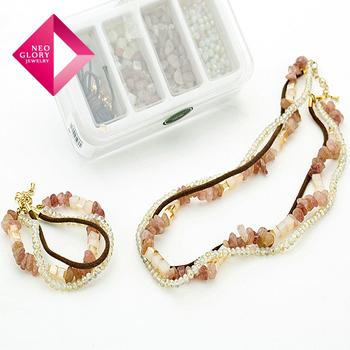 Neoglory Nature Stone Beads Jewelry Handmade Crystal Necklace & Gold Plated Bracelet Charm Brand DIY Jewelry Sale