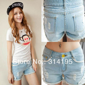 Hot!! Free Shipping 2013New Arrival Summer Ripped Hole Lace Cotton100% Denim Jeans Shorts Plus Size Loose Casual Shorts jdd519