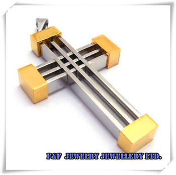 """Men's Silver Gold Cross Stainless Steel Pendant with 21"""" Chain Necklace Free Shipping P#70"""