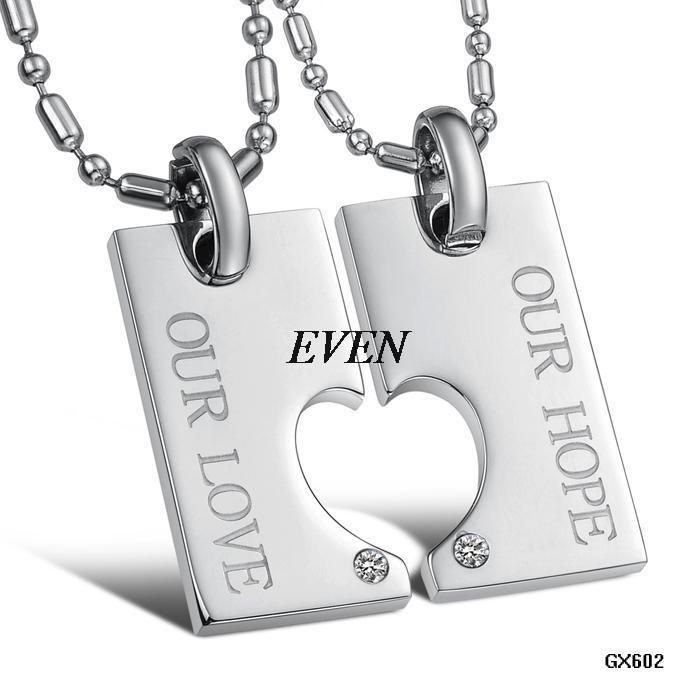 Fashion Jewelry Puzzle love Heart Pendant Rhinestone Titanium stainless steel Lovers Couple Pendant Necklace