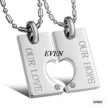 OPK JEWELLERY Rhinestone titanium lovers necklace gx602