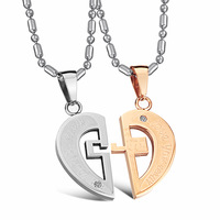 Wholesale Popular Fashion Accessories Jewelry Titanium Puzzle of Heart Pendant Lovers Couple Necklaces for men and  women