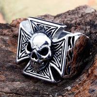 Free Shipping! 3pcs Biker Skull & Cross Stainless Steel Ring MER285