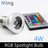 Wholesale 4W RGB LED spotlight E27 and GU10 RGB remote control dimmable led bulb lamp for home decoration, free shipping