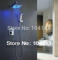 "50047A Shower Set 8"" LED Rainfall Shower Head Arm Control Valve Handspray Shower Faucet Set"