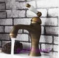 Hot Sale ! Contemporary Antique Brass Bathroom Faucet Vanity Sink Mixer Tap Ceramic Handle Undercounter
