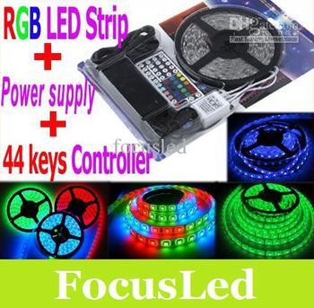 Best Gift ! 5050 SMD RGB Led Strip Light 5M 300Led Waterproof + 44Key Controller+ 12V 5A transformer