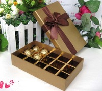 Free Shipping L19-W12-H4cm 14pcs/lot  15 cells Wedding party Gift  chocolate Case favour package Boxes