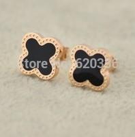 14k rose gold plated titanium steel  van clover earrings