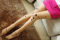 wholesale freeshipping Fashion hearts tattoos bottoming socks slim sexy pantyhose women socks