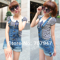 Free shipping 2014 spring denim overall shorts women jeans shorts plus size elastic suspenders shorts by denim shorts