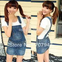 Free shipping 2014 summer girls skirts mini Plus size denim braces skirt women jeans shorts skirts Casual cute suspender skirt