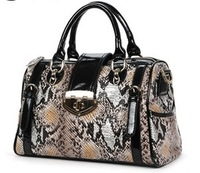 Free shipping fashion women's snake pattern handbag shoulder cross body messenger satchel bags