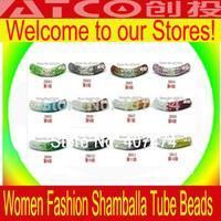 New Style Micro Pave CZ Long Tube Bending Shamballa Beads Crystal Mixed Colour 100pcs