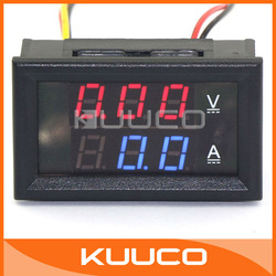 Car YB27-VA 100A Dual Volt/Amp Meter Digital Amperemeter Voltmeter Ammeter 0-100V DC Voltage Panel Red/Blue LED 12/24V #100016(China (Mainland))