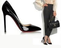 Free shipping 2013 New style Red bottom super  high heels shoe patent leather thin heels shoes fashional