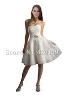 Hot Selling vestidos de novia sexy sweetheart A-line appliques  organza knee-length wedding dress wholesale