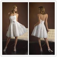 Short Wedding Dress Strapless Satin Lace Embroidery Empire Designer wedding dresses