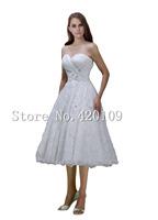 Free Shipping vestido de noiva Princess sweetheart lace appliques short vintage wedding dress hot sale