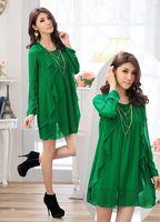 Women Plus Size XL-4XL Sheer Light Long Sleeve Cascading Dress Free Shipping my758