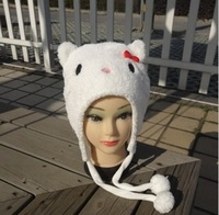 Punk Style Wholesale 10pcs/lot short style Hello Kitty Plush Hats Cartoon Caps Cotton Velveteen Warm Hats