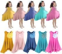 Wholesale 5pcs/lot  New 2014 summer flower girl tank dress children girls fashion sleeveless flower dress CC0877(China (Mainland))