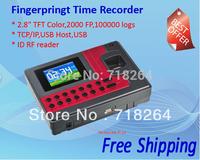 "RT-110 Fingerprint Time Attendance 2.8""TFTwide screen+2000 FPS+100000logs+RF reader ID/IC+USB/TCP/IP+USB host+SDK support"