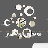 3D diy mirror wall clocks creative circles vintage bedroom wall art decor unique items children's room art clocks 017