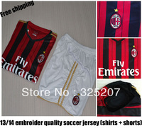 13/14 AC Milan Home Black Red soccer jerseys  Embroidery Brand Logo Unfiorms  Football Sport Men Shirt With Short