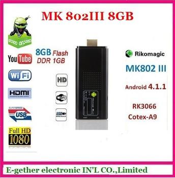 Newest  Rikomagic Mini PC Mk802iii Google TV Box 1.6GHz Dual Core 1GB RAM 8GB ROM and RC12 Wireless Keyboard