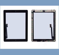5pcs/lot Touch Screen Digitizer With Home Button Assembly for New iPad 3 iPad 4 + Adhesive  Free Shipping by DHL EMS