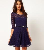 Fashion 2014 spring vintage sexy perspectivity full lace belt slim big dress o-neck one-piece dress SK-011