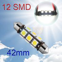 6pcs 42mm 12 SMD 5050 Pure White Dome Festoon Dashboard Car 12 LED Light Lamp Bulb parking car light source 12V