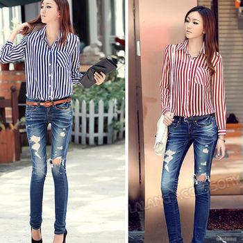 Chiffon Women's Long Sleeve Shirts Striped Casual Blouse Turn-down Collar Shirts On Sale M/L EJ651207