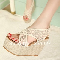Free Shopping 2013 reticularis all-match sexy lace platform high-heeled sandals water female wedges shoes female hole
