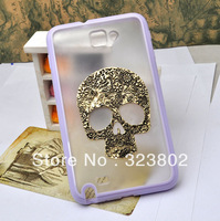 Handmade Steampunk Retro Style TPU Matting Case for Sumsung GALAXY Note N7000 i9220 with Bronze Skull Head Optional Color