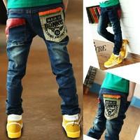 new spring 2014 kids jeans children pants boys denim jeans outerwear children's pant baby star trousers cotton wholesale